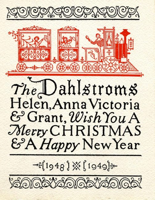 Christmas card, The Dahlstroms, Helen, Anna, Victoria & Grant, Wish You A Merry Christmas & A Happy New Year, 1948-1949