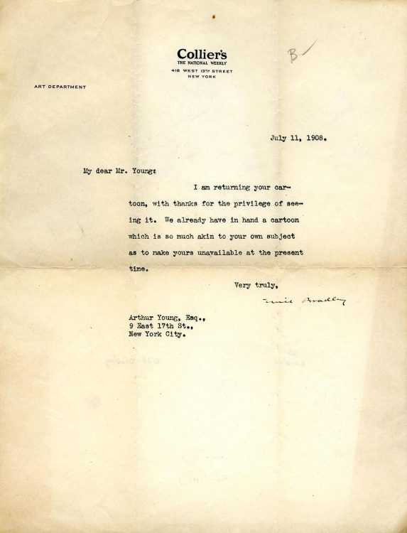 Letter to Arthur Young, on Collier's Art Department letterhead, July 11, 1908.