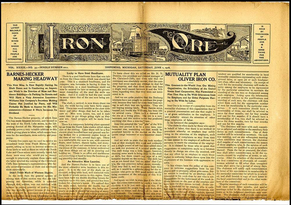 Masthead design and illustration from Iron Ore