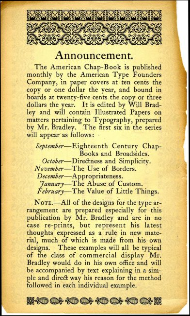 """Order form for """"first six issues of the bound edition American Chap-Book,"""" American Type Founders Company, circa 1905."""