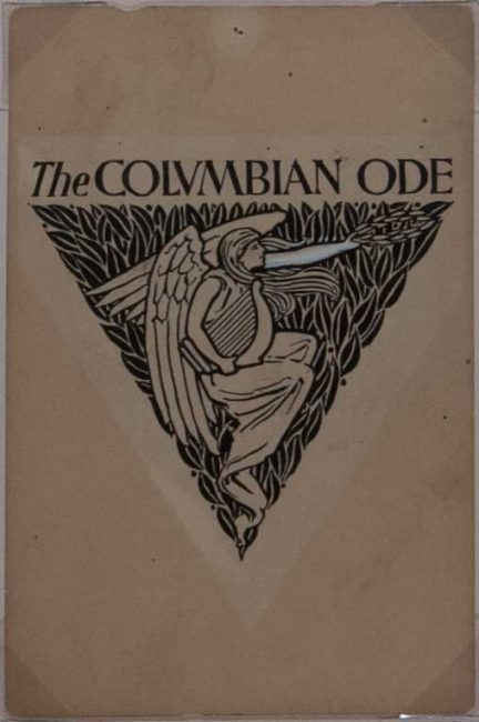 [Original pencil and ink drawing and titling for] The Colvmbian Ode