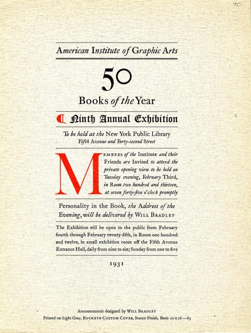 Program, American Institute of Graphic Arts, 50 Books of the Year, Ninth Annual Exhibition