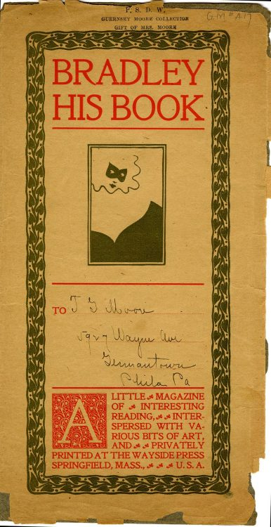 Prospectus and mailing envelope for Vol. 1, No. 4, Bradley: His Book. Springfield, Mass.: Wayside Press.