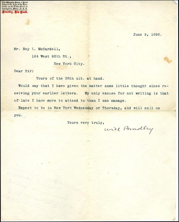 Letter from Will Bradley to Roy L. McCardell on Bradley: His Book letterhead
